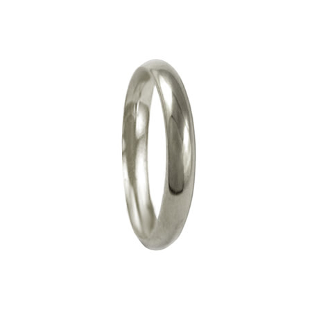 3mm 18ct White Gold Court Wedding Ring