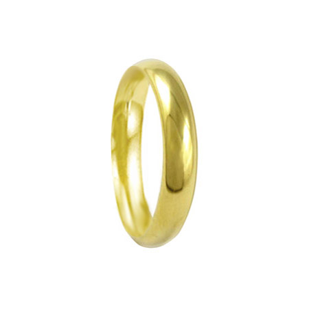 4mm 18ct Yellow Gold Court Wedding Ring