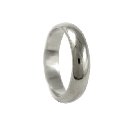 5mm 18ct White Gold D-shaped Wedding Ring