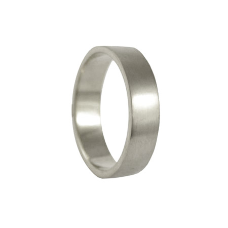 5mm 18ct White Gold Flat Wedding Ring