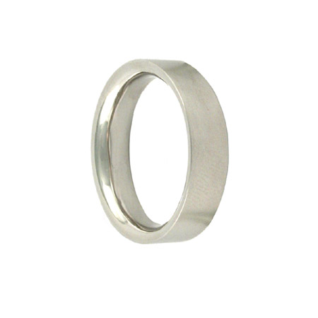 5mm 18ct White Gold Inverted-D Wedding Ring